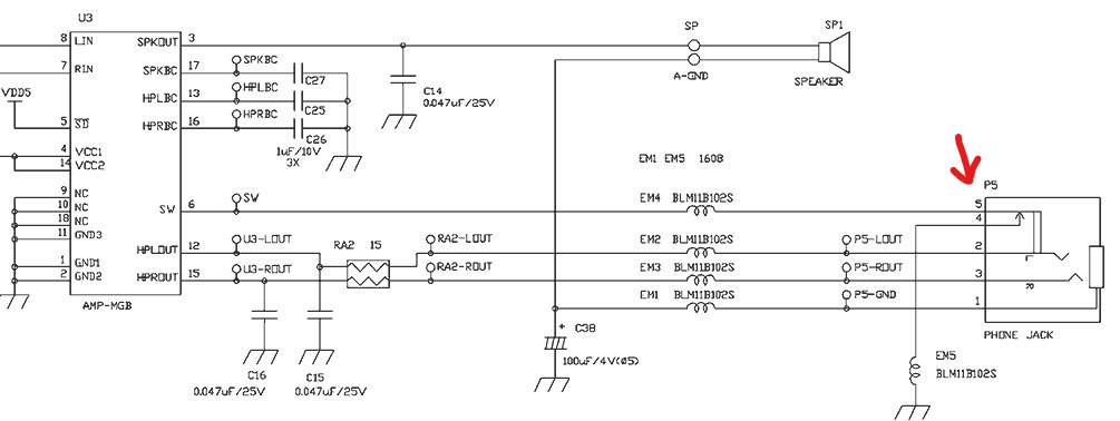 Game Boy Color Headphone Port Schematic